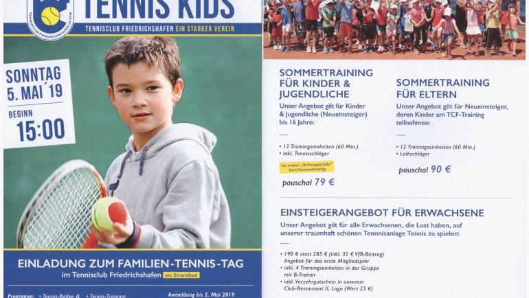 Familien-Tennis-Tag Sonntag, 5. Mai um 15 Uhr